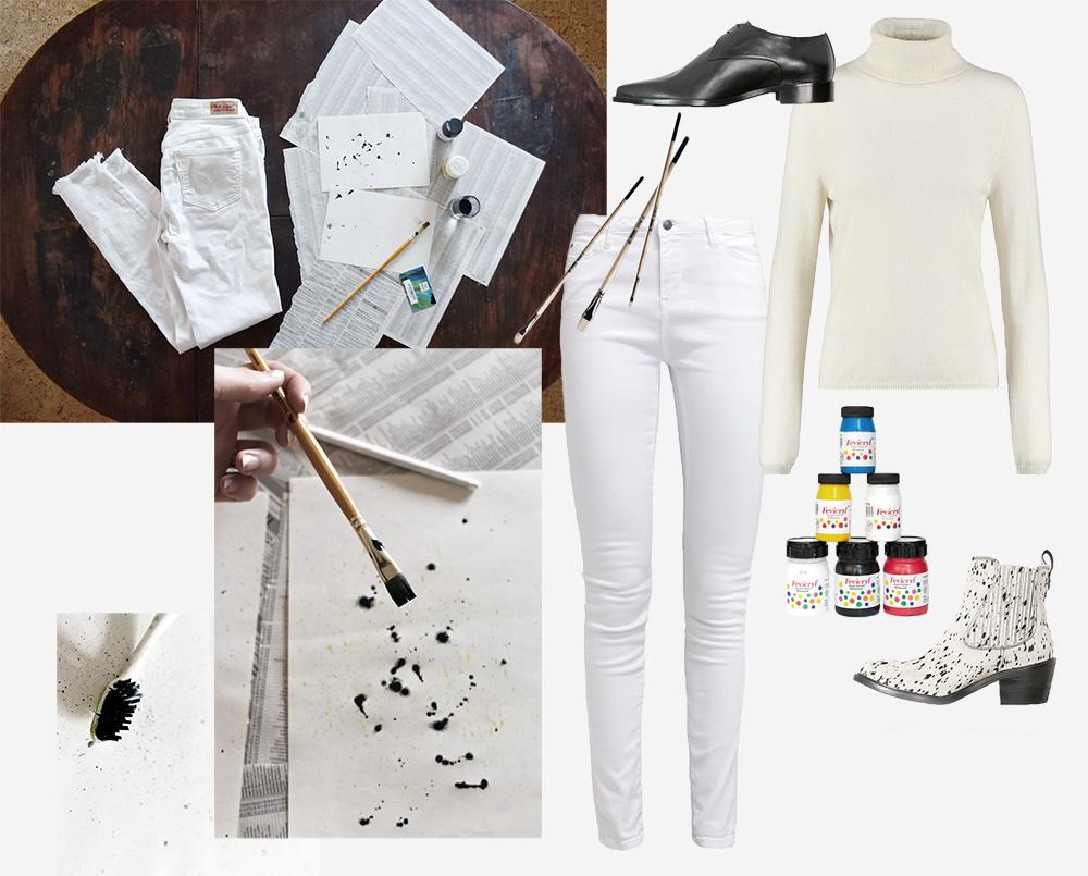 spodnie straciatella, przeróbka spodnie, białe spodnie