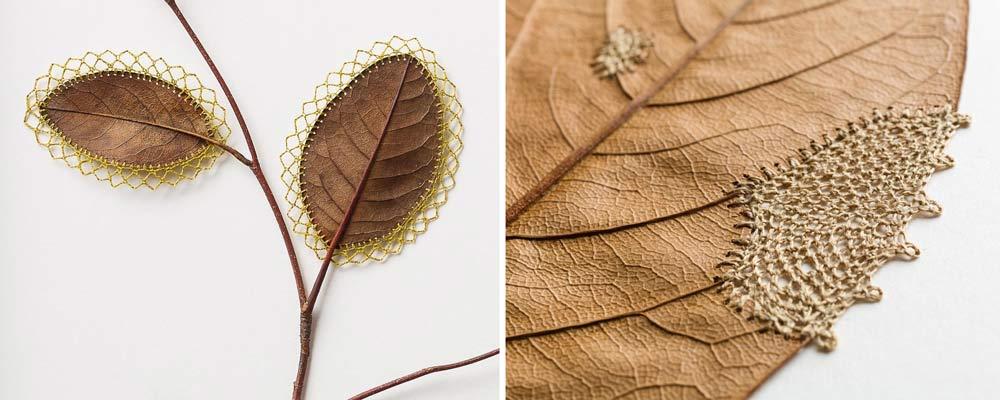 ciekawe zajęcia na jesień - wyszywanie liści